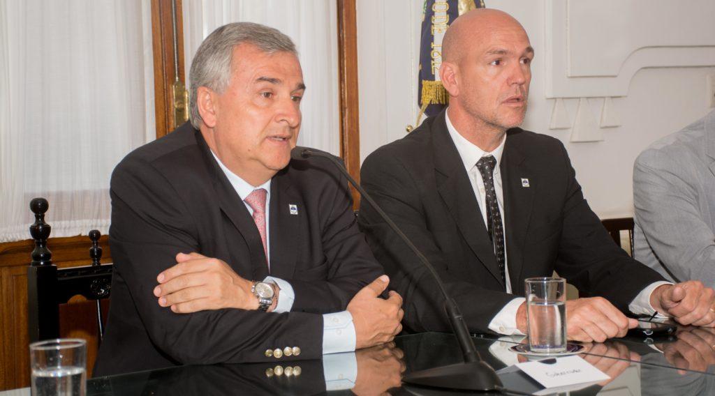 El Ministro de Seguridad, Ekel Meyer, acompañó al Gobernador Morales en la conferencia de prensa